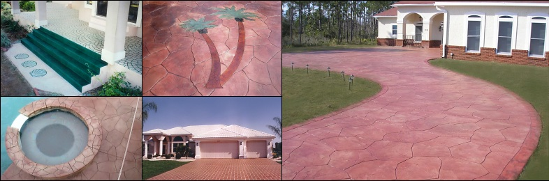 Decorative concrete stained, stamped, colored, and painted cement. Fort Walton Beach, Destin, Niceville, Crestview, Florida Repair driveways, enhance patios and pool decks.